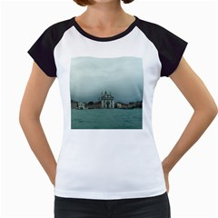 Venice White Cap Sleeve Raglan Womens  T-shirt
