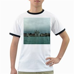 Venice White Ringer Mens'' T-shirt