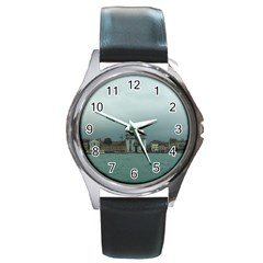 Venice Black Leather Watch (round)