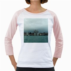 Venice White Long Sleeve Raglan Womens  T-shirt