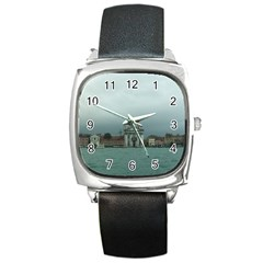 Venice Black Leather Watch (Square)