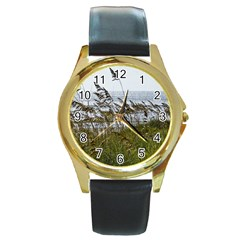 Cocoa Beach, Fl Black Leather Gold Rim Watch (round)