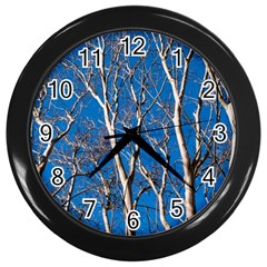 Trees on Blue Sky Black Wall Clock