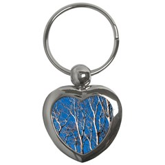Trees On Blue Sky Key Chain (heart)