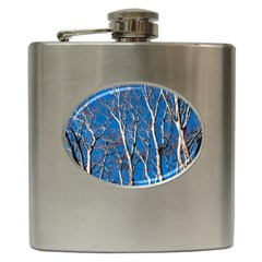Trees on Blue Sky Hip Flask