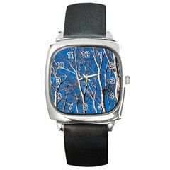 Trees On Blue Sky Black Leather Watch (square)