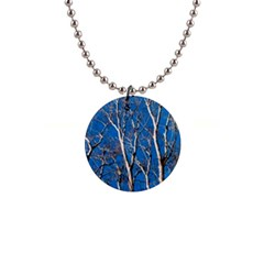 Trees on Blue Sky Mini Button Necklace
