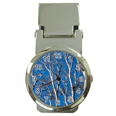 Trees On Blue Sky Chrome Money Clip With Watch