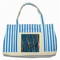 Trees on Blue Sky Blue Striped Tote Bag
