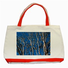 Trees on Blue Sky Red Tote Bag
