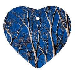 Trees on Blue Sky Heart Ornament (Two Sides)