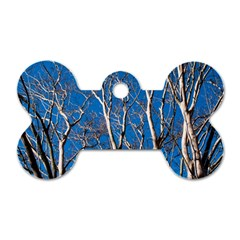 Trees On Blue Sky Single Sided Dog Tag (bone)