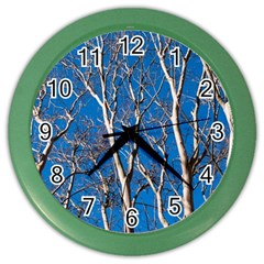 Trees On Blue Sky Colored Wall Clock