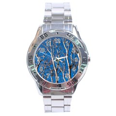 Trees on Blue Sky Stainless Steel Analogue Watch (Round)