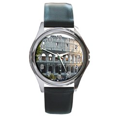 Roman Colisseum 2 Black Leather Watch (Round)