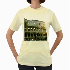 Roman Colisseum 2 Yellow Womens  T-shirt