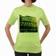 Roman Colisseum 2 Green Womens  T-shirt