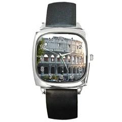 Roman Colisseum 2 Black Leather Watch (square)
