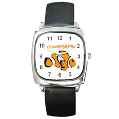 Clownfish Only Black Leather Watch (Square)