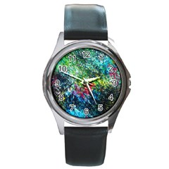 Raw Truth By Mystikka  Black Leather Watch (round)