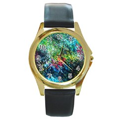 Raw Truth By Mystikka  Black Leather Gold Rim Watch (round)