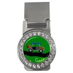 Gone Golfin Money Clip with Gemstones (Round)