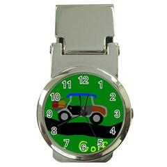 Gone Golfin Chrome Money Clip with Watch