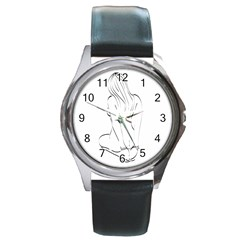 Bound Beauty Black Leather Watch (Round)