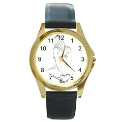 Bound Beauty Black Leather Gold Rim Watch (Round)