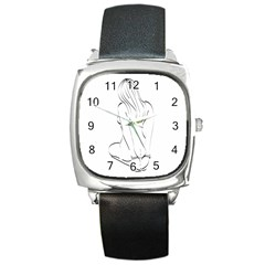 Bound Beauty Black Leather Watch (square)