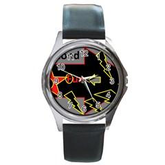 Raymond Fun Show 2 Black Leather Watch (Round)