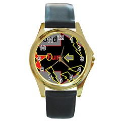Raymond Fun Show 2 Black Leather Gold Rim Watch (Round)