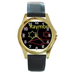 Raymond Tv Black Leather Gold Rim Watch (Round)