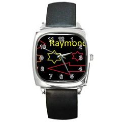 Raymond Tv Black Leather Watch (Square)