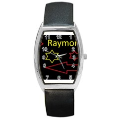 Raymond Tv Black Leather Watch (Tonneau)