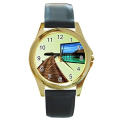 Virtual Tv Black Leather Gold Rim Watch (Round)