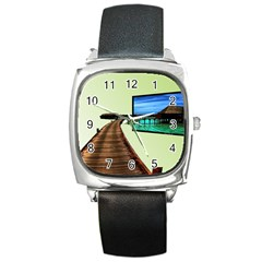 Virtual Tv Black Leather Watch (square)