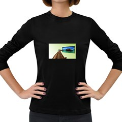 Virtual Tv Dark Colored Long Sleeve Womens'' T Shirt