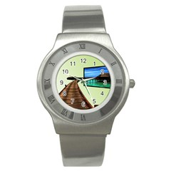 Virtual Tv Stainless Steel Watch (round)
