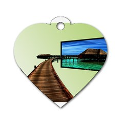 Virtual Tv Twin-sided Dog Tag (Heart)