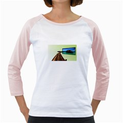 Sony Tv White Long Sleeve Raglan Womens  T-shirt