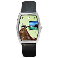 Sony Tv Black Leather Watch (Tonneau)