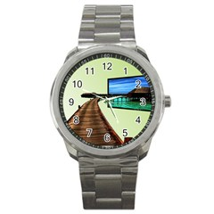 Sony Tv Stainless Steel Sports Watch (Round)
