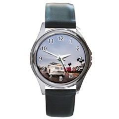 Wedding Car Black Leather Watch (Round)