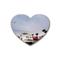 Wedding Car Rubber Drinks Coaster (heart)