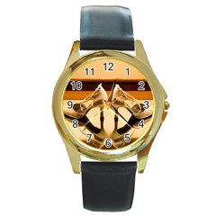 23 Black Leather Gold Rim Watch (Round)
