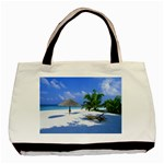 Beach Black Tote Bag Front