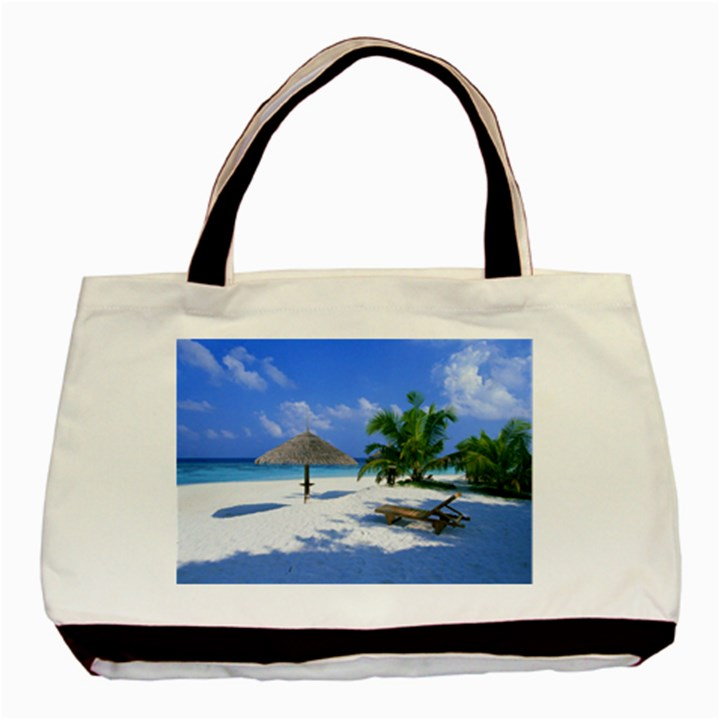Beach Black Tote Bag