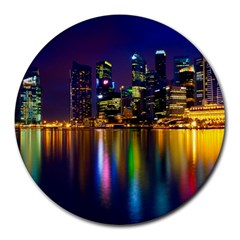 Night View 8  Mouse Pad (round)
