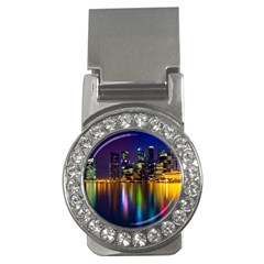 Night View Money Clip With Gemstones (round)